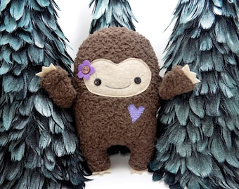 Big Foot girl plush stuffed toy in purple,  big foot plushie, sasquatch, kawaii big foot stuffed toy, monster stuffed animal, girlie monster
