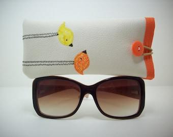 Eyeglass case, sunglass case,  cream with orange and yellow birds, eyewear sleeve, gifts for women
