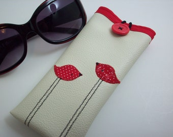 Sunglass or eyeglass case in cream with red birds