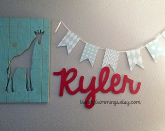 small wooden script name word or phrase cursive letters wooden letters for a wreath accent wall childs room or nursery unpainted