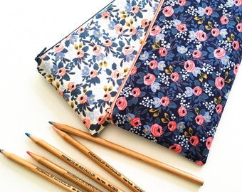 Pencil Case, School Supplies, Pencil Pouch, Zipper Pouch, Blue Floral, Purse Organizer, Rifle Paper Co, Gift for Women, Kids, Teens, Her