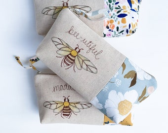 Bumble Bee Baby Shower Hostess Thank You Gift, Personalized Honey Bee Cosmetic Bag, Bee Lover Gift, Baby Shower Hostess Gift, Makeup Bag