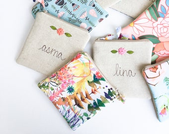 Junior Bridesmaid Gift, Girl Gifts, Jewelry Pouch, Floral, Personalized Wallet, Coin Purse, Zipper Wallet, Personalized Zipper Pouch, Custom