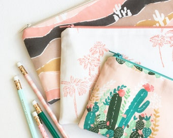 Palm Springs Zipper Pouch, School Supplies, Back to School Pencil Case, Pencil Pouch College Kids Gift for Women Blush Desert Organizer Bags