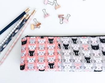 Cat Lover Gift, School Supplies, Pencil Pouch, Zipper Pouch, Cat Mom Gift, Desk Organizer, Gift for Women, Pencil Case, Pink, Black, Grey,