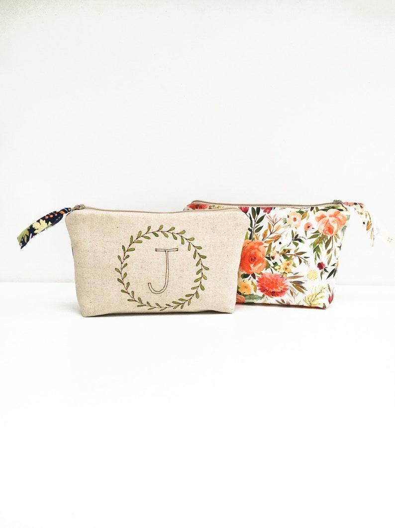 Floral Makeup Bag Gift For Best Friend Birthday Monogram