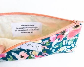 Personalized Graduation Gift for Her, Cosmetic Bag with Inspirational Quote, Personalized Gift Ideas for Grad, Be Authentic, MADE TO ORDER