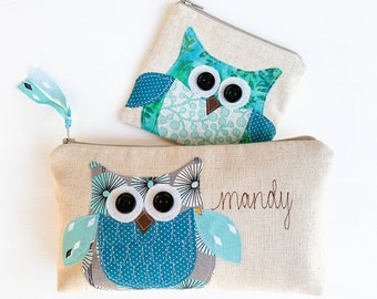 Owl Lover Gift, Woodland Owl Cosmetic Bag, Owl Coin Purse, Unique Zipper Pouch, Personalized Christmas Gift