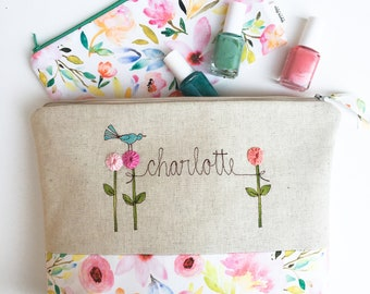 Personalized Gift for Women, Bridesmaid Gift Set, Large Personalized Cosmetic Bags, Floral Makeup Bags, Project Bag, Mom, Sister, Organizer