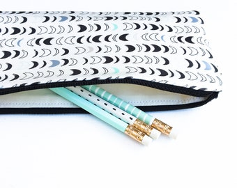 Autumn Gift for Her, Moon Phase Zipper Pouch, Celestrial Pencil Pouch, Boho Accessory Bag, College Student Gift
