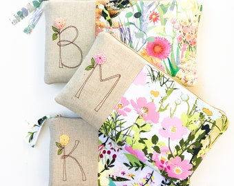 Floral Wedding, Monogram Clutch, Personalized Bridemaid Gift, Womens Gift, Botanical, Flowers, Gift for Women, MamaBleuDesigns