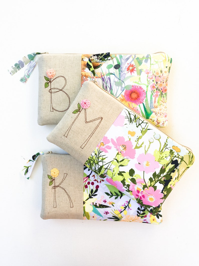 Floral Wedding Monogram Clutch Personalized Bridemaid Gift image 0