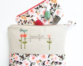 Holiday Gift Set for Mom, Personalized Project Bag, Large Zipper Pouch Cosmetic Bag, Personalized Holiday Gift for Mother in Law