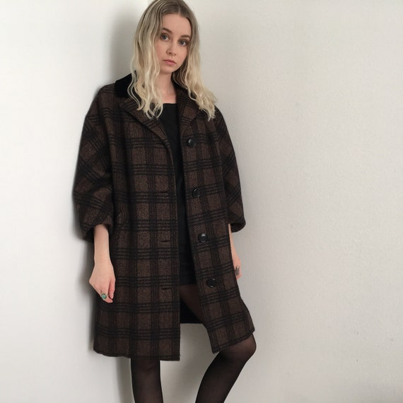 50s Brown Black Gingham Jacket Overcoat