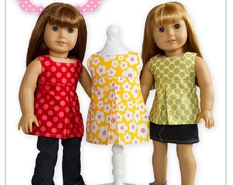 American Girl PDF Sewing Pattern - Doll Clothes Epattern - Pleated Sundress, Top & Tunic