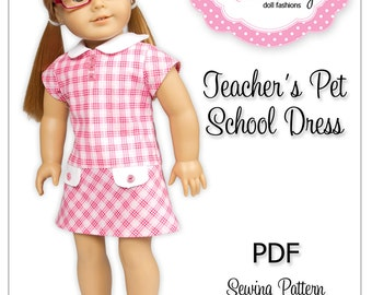 PDF Sewing Pattern for 18 Inch American Girl Doll Clothes - Teacher's Pet School Dress ePattern