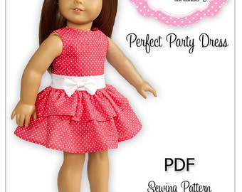 PDF Sewing Pattern for 18 Inch American Girl Doll Clothes - Perfect Party Dress ePattern
