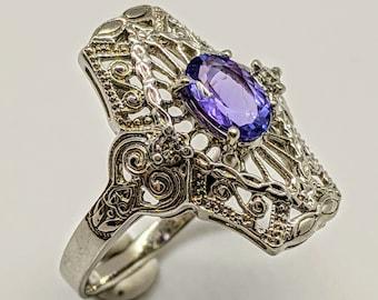 14k White Gold Tanzanite Filigree Style Ring