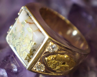 Alaskan Gold Nuggets with Gold infused Quartz and four 12/100ct diamonds in 14k yellow gold Gents diamond statement ring.