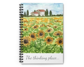 The Thinking Place, Tuscany Sunflowers Spiral Journal Notebook