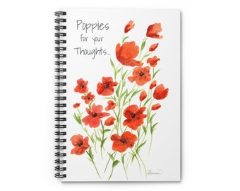 Poppies for your Thoughts Spiral Journal Notebook