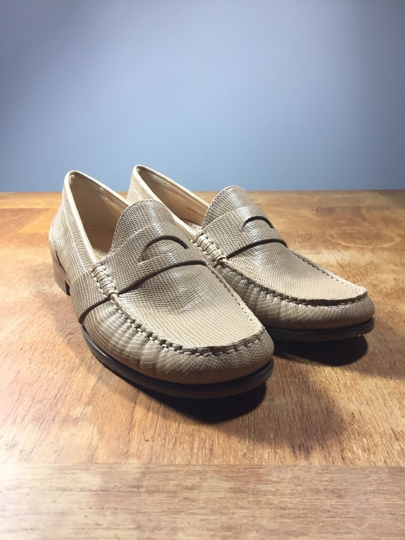 8afe3bfa4c Vintage Cole Haan Loafers - New Dead Stock - 1990s 90s Slip On Penny  Loafers - Beige Snake Skin Leather - Women's Size 8.5 - UK 6 - Euro 39