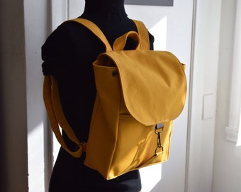198beaae4 Elegant mastard (small size) backpack made with Izumi Momen #8 cotton canvas