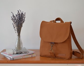 Elegant brown backpack(small size) made with Izumi Momen  8 cotton canvas 2b5bf9547daa1