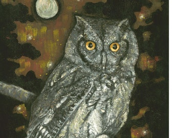 FREE SHIPPING SALE / Night Vision Owl Art by Carrie Martinez // Surrealism, Mysticism, Goddess, Tarot and Visionary Art