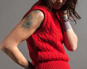 Lipstick Red Cable Knit Sweater Vest