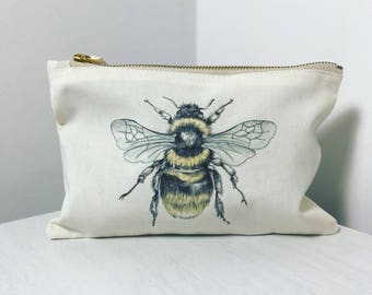 Bumble Bee in colour Makeup Bag or Pencil Case