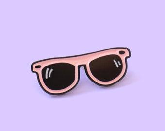 Pink sunglasses enamel pin - brooch