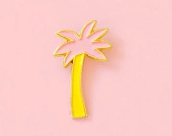 Cute pink PALMTREE enamel pin - brooch