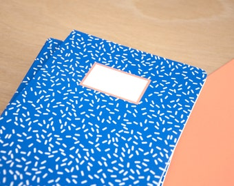Memphis design blue notebook - A5 - 64 Pages Ruled