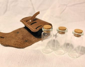 Three Vial Leather Potion Kit