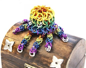 Rainbow Chainmaille Octopus