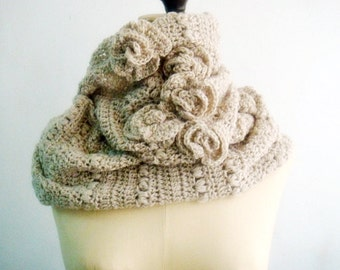 CROCHET Pattern Cowl Infinity Loop Circle Scarf Crocheting Pattern Beige Neutral Rustic Scarf with Roses 8