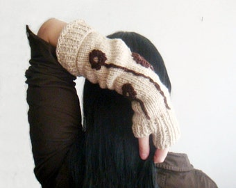 Gloves knitting Pattern Knit Rustic Hand Warmers Fingerless Gloves with Crochet Flowers 9