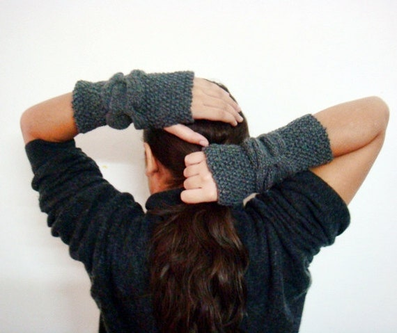 Fingerless Gloves Knitting Pattern Cable Knit Arm Warmers Etsy