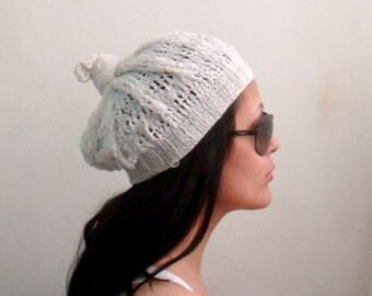 Summer Lace Beret Knit Pattern, Knot Beanie Hat Pattern