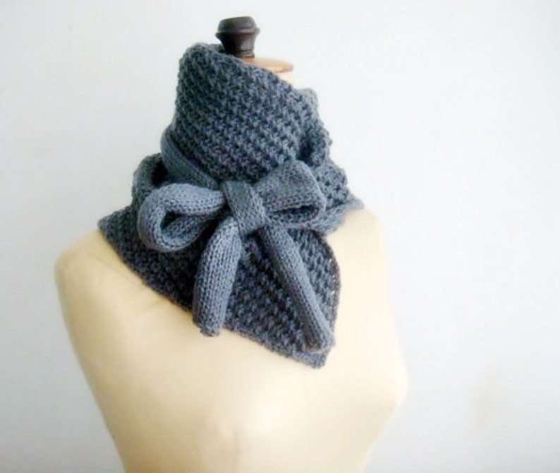 PATTERN Knit Cowl Scarf Bow Neck Warmer 14 image 0