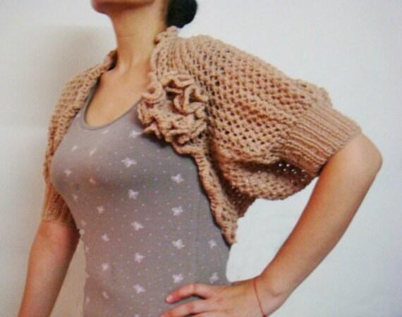 Lace Shrug Knitting Pattern Knit Bolero With Knit Flower Pin Etsy