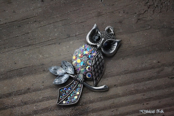 Clear Rhinestone Silver Owl Necklace