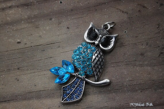 Blue Rhineston Silver Owl Necklace