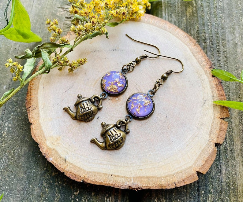 Teapot Cottagecore Bronze Earring Set
