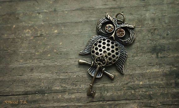 Bronze Owl Key Charm Necklace