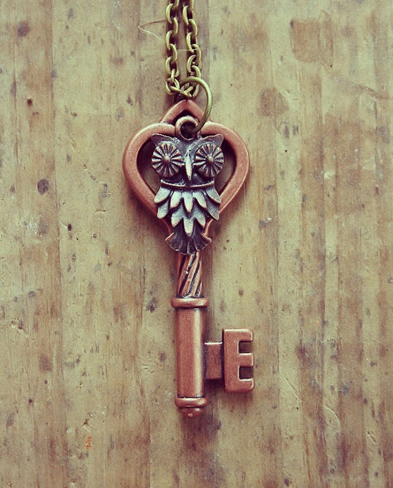 Vintage Copper Owl Key Charm Necklace