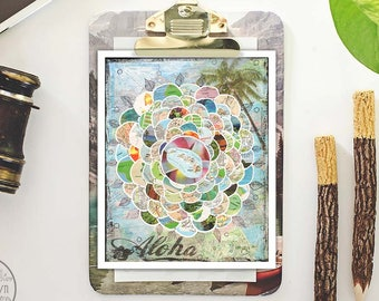 hawaii art - mixed media collage - hawaiian decor - map art - prints