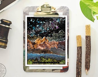 wall art - adventure is out there - mixed media collage art - mountain print - travel gifts