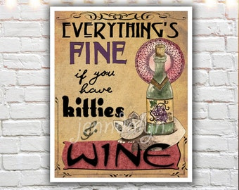 cat lover gift - cat lady - kitties and wine - cat art print - gifts for cat lovers